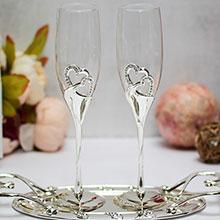 """Свадебные бокалы с подставкой """"Exclusive"""" (2 шт, серебристые)"""