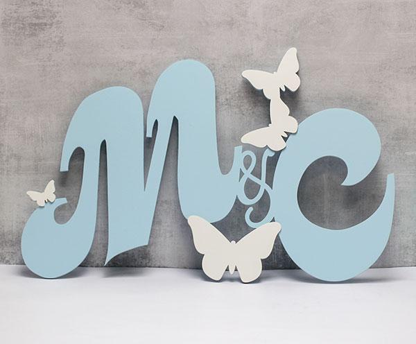 Монограмма для молодоженов с бабочками (58х36 см, возможен другой размер)