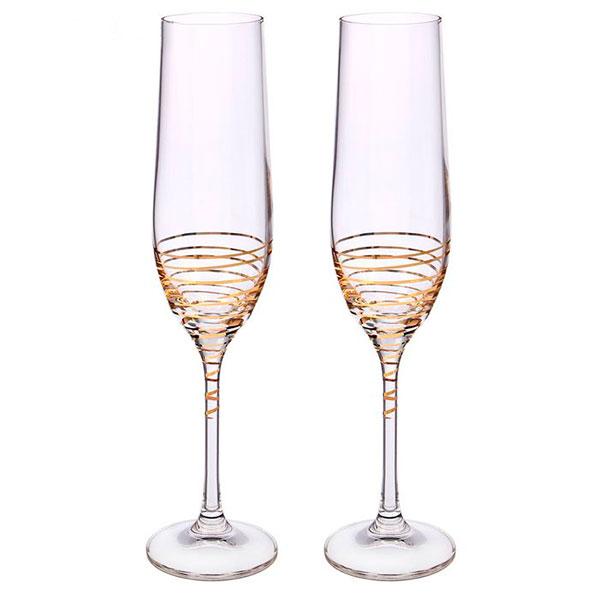 """Свадебные бокалы для шампанского """"Золотая спираль"""" (2 шт)"""