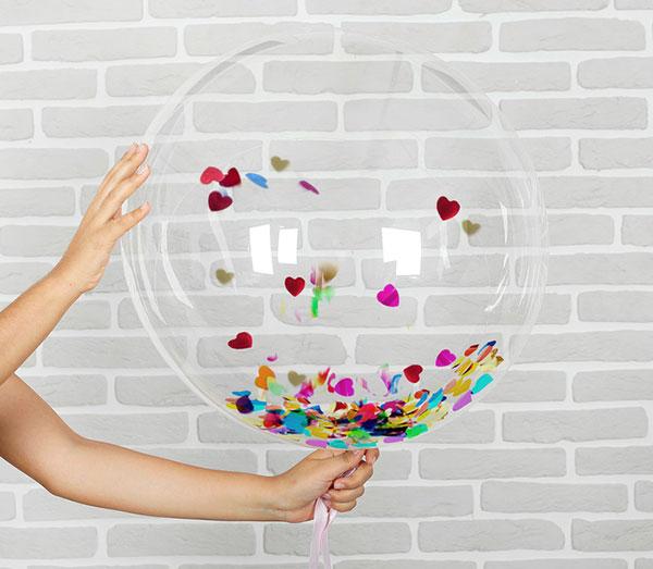 Воздушный шар с наполнением (25 см, конфетти-сердечки)