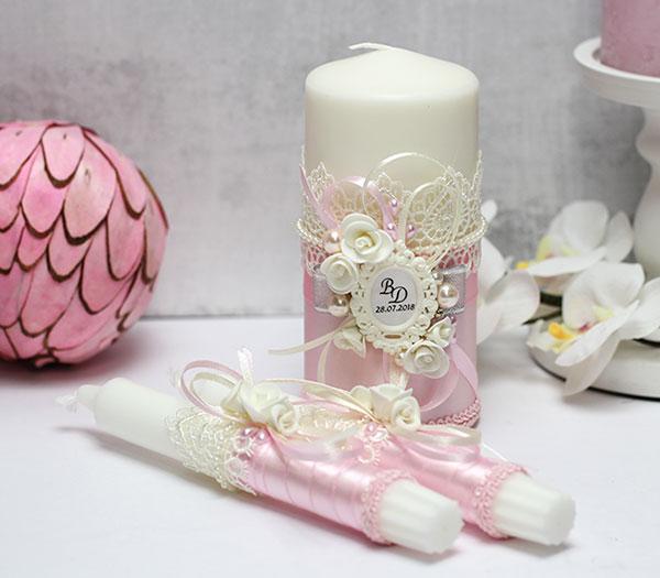 Домашний очаг + 2 свечи Летний вечер (без подсвечников) (розовый)