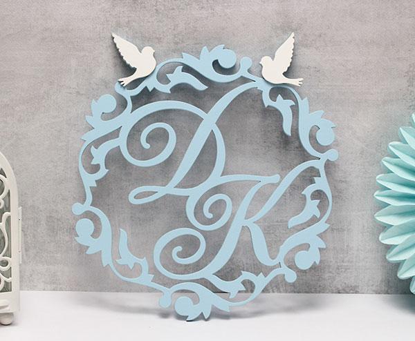 """Свадебная монограмма """"Голуби"""" (30 см)"""