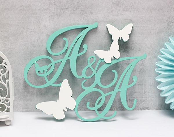 """Свадебная монограмма """"Бабочки"""" (50 см)"""