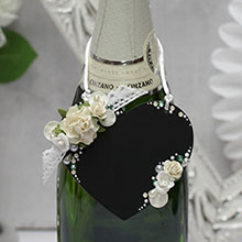 """Декор для шампанского с поверхностью для записи мелом """"Сердечко"""" (1 шт)"""
