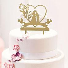 "Топпер в торт ""Любовь без края"",13х18 см, цвет золото"