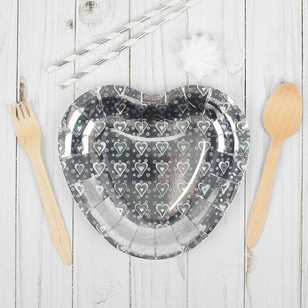 """Набор бумажных тарелок """"Сердечко"""", (6 шт) голография, цвет серебро"""