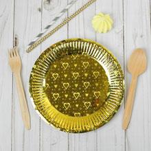 Набор бумажных тарелок (6 шт) голография в сердечко, цвет золото
