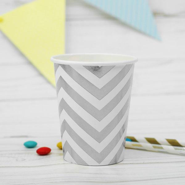 "Набор бумажных стаканчиков ""Зигзаг"", 6 шт., 250 мл, серебро"