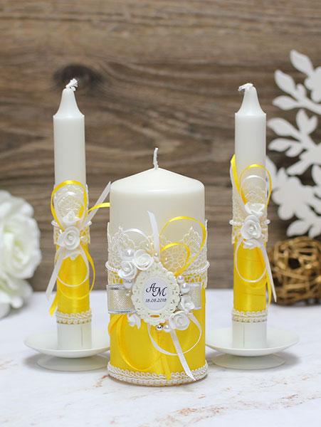 Домашний очаг + 2 свечи Летний вечер (без подсвечников) (желтый)