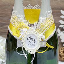 Украшение для шампанского Летний вечер (желтый)