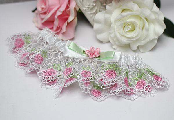 """Подвязка для невесты """"Весенние цветы"""" (мятный)"""