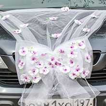 Украшение на свадебную машину «Седьмое небо» (белый/фиолетовый)