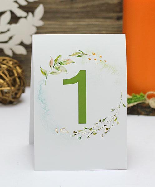 "Карточка с номером стола ""Greenery"" (дизайн 1)"