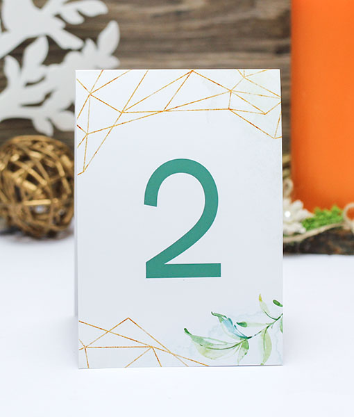 "Карточка с номером стола ""Greenery"" (дизайн 3)"