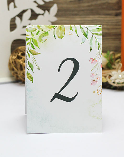 "Карточка с номером стола ""Greenery"" (дизайн 7)"