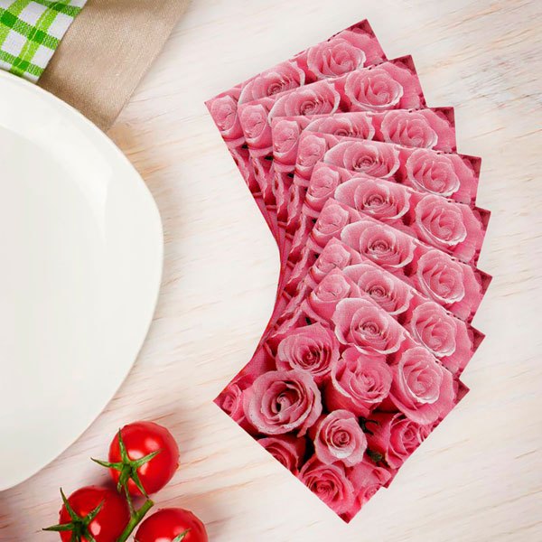 """Бумажные салфетки """"Нежные розы"""", 33 × 33 см, набор 20 шт."""