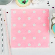 """Бумажные салфетки """"Горох"""", розовый (20 шт, 33*33 см)"""