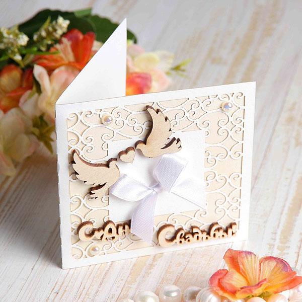 """Свадебная открытка мини """"Голубки"""", 10 см"""