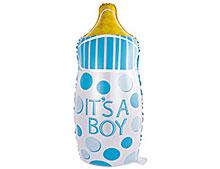 """Фольгированный шар """"Бутылочка"""", голубой, 80 см"""