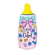 """Фольгированный шар """"Бутылочка"""", розовый, 90 см"""