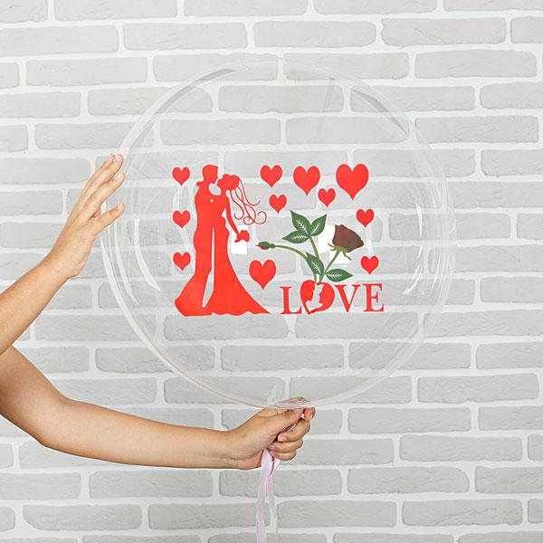 """Шар полимерный прозрачный, с наклейками """"Любовь"""", 40 см (1 шт)"""