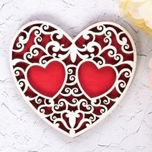 Деревянная подставка для колец Резное сердце (красный)