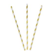 """Трубочки для коктейля """"Stripes"""" (25 шт, золотистые)"""