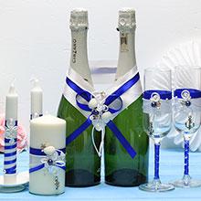 """Комплект аксессуаров для свадьбы """"Морской бриз"""" (3, синий)"""