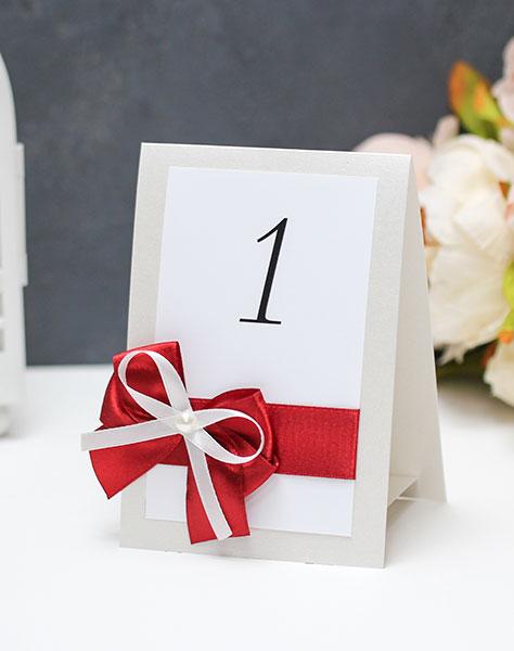 Карточка с номером стола Romantic (бордовый)