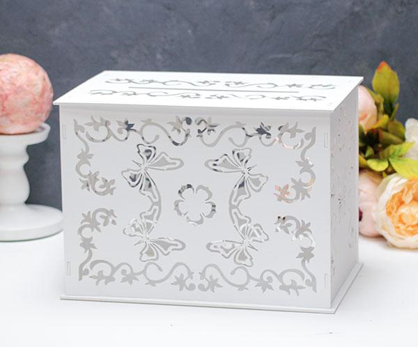 """Деревянная резная шкатулка для свадебных подарков """"Бабочка"""""""