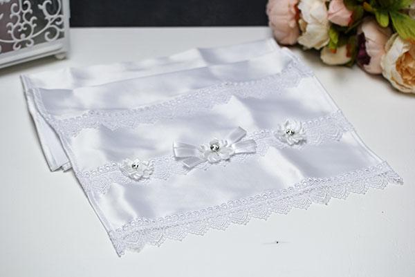 """Атласный рушник для каравая ручной работы """"Свадебные узы"""" (белый)"""