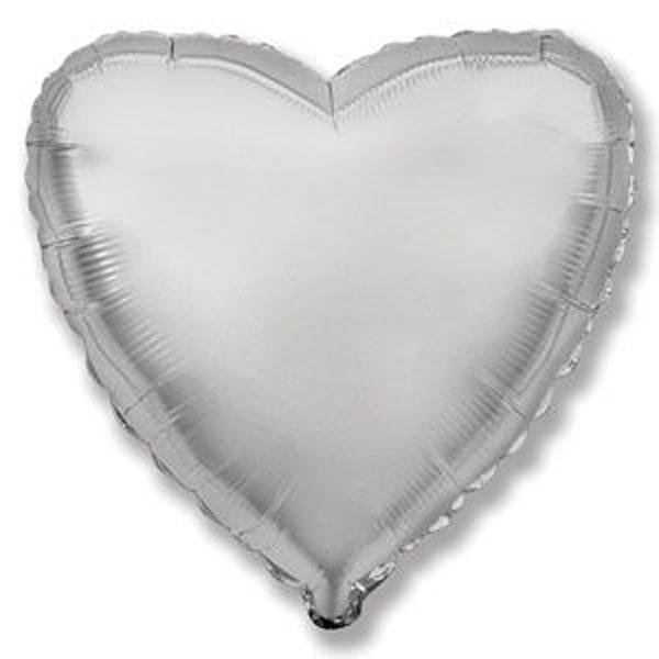 Фольгированный шар Сердечко, 45 см (серебро)