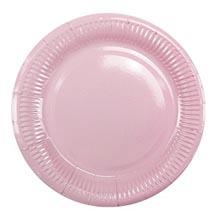 Бумажные тарелки, нежно-розовый (6 шт, 18 см)