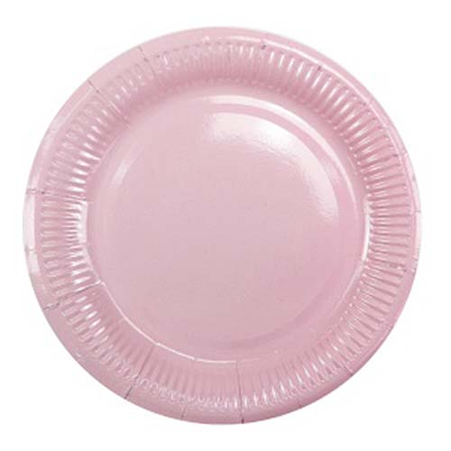 Бумажные тарелки (6 шт, 18 см) (нежно-розовый)