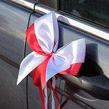 Комплект бутоньерок на авто Фантазия (белый/красный)