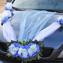Украшение на капот свадебной машины «Виолла» (голубой)