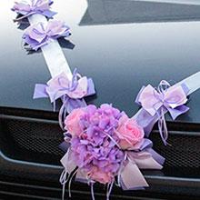 Лента для свадебной машины Поцелуй бабочки, розы+гортензия (сиреневый/розовый)