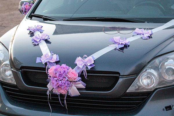 """Лента для свадебной машины """"Поцелуй бабочки"""" (сиреневый/розовый)"""