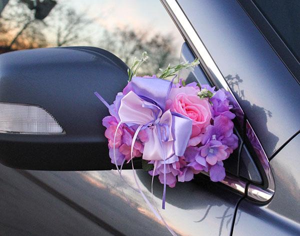 """Украшение для ручек/зеркал машины """"Поцелуй бабочки"""", розы+гортензия"""
