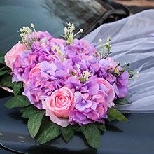 Украшение на свадебную машину «Поцелуй бабочки, розы+гортензия (сиреневый/розовый)