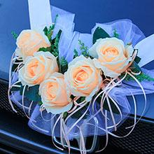 Лента на машину Свадебная мечта (персиковый)