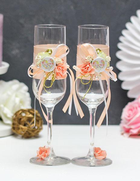 """Свадебные бокалы ручной работы """"Любовь"""""""