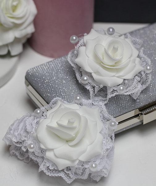 """Комплект свадебных аксессуаров для свидетелей """"Пышная роза"""" (2 шт) (белый)"""