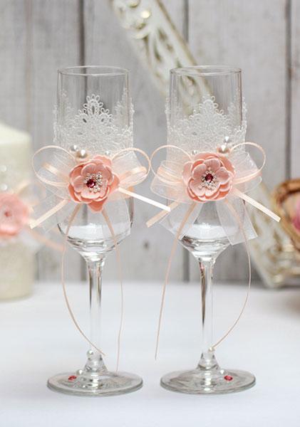 Свадебные бокалы ручной работы Нежное мгновение (2 шт) (персиковый)