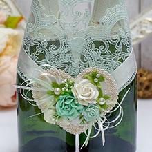 Свадебное украшение для шампанского Райские цветы