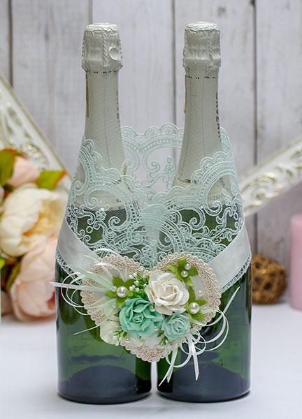 """Свадебное украшение для шампанского """"Райские цветы"""""""