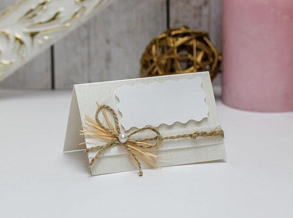 """Банкетная карточка для гостей """"Полевые цветы"""" (за 1 шт) (айвори)"""