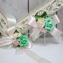 Набор свадебных аксессуаров для свидетелей Таинственный сад (мятно-розовый)