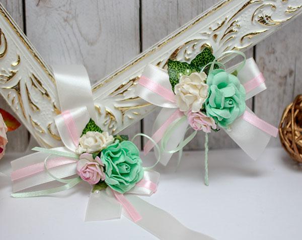 Набор свадебных аксессуаров для свидетелей Таинственный сад (мятный)