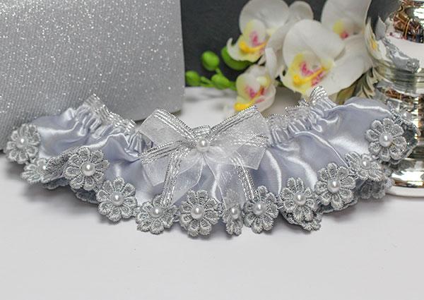 """Подвязка для невесты """"Серебряные цветы"""" (серебряный)"""
